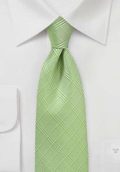 Trendy Plaid Tie in Sap Green
