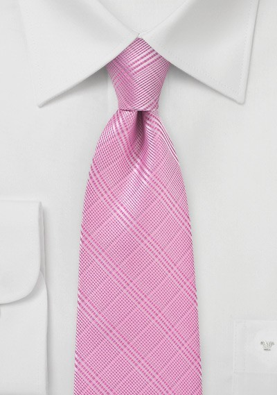 Bright Pink Necktie with Trendy Check Pattern