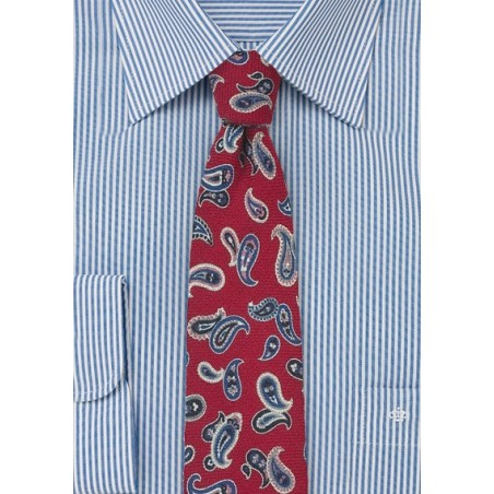 Red Wool Tie with Blue Paisley Print