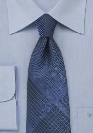 Designer Plaid Necktie in Black and Blue