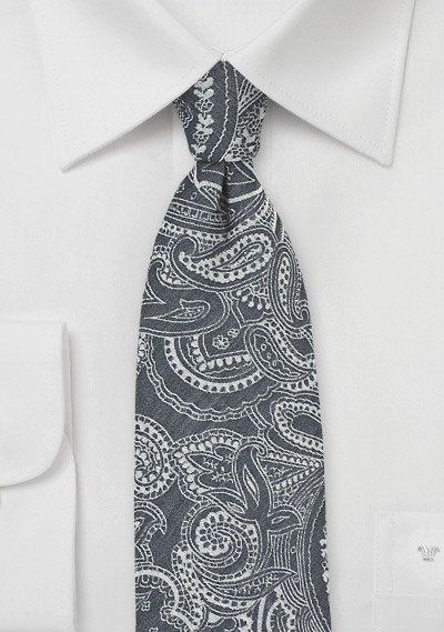 Bandana Print Tie in Gray and Silver