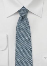 Denim Blue Skinny Tie with Herringbone