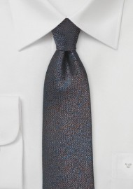 Trendy Silk Skinny Tie in Blue and Copper