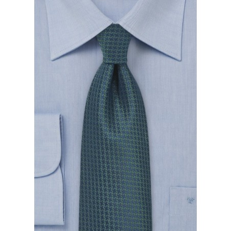 Micro Check Silk Tie in Navy and Green