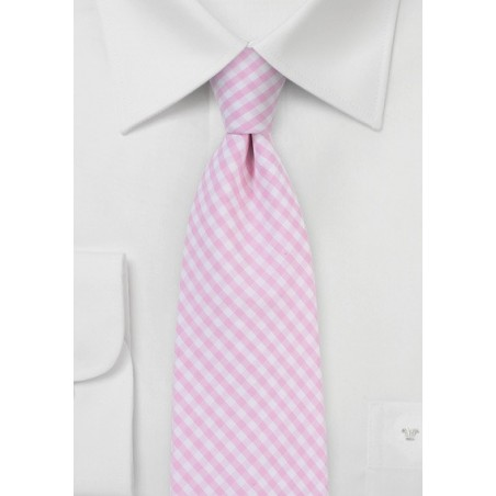 Tea Rose Pink Gingham Tie