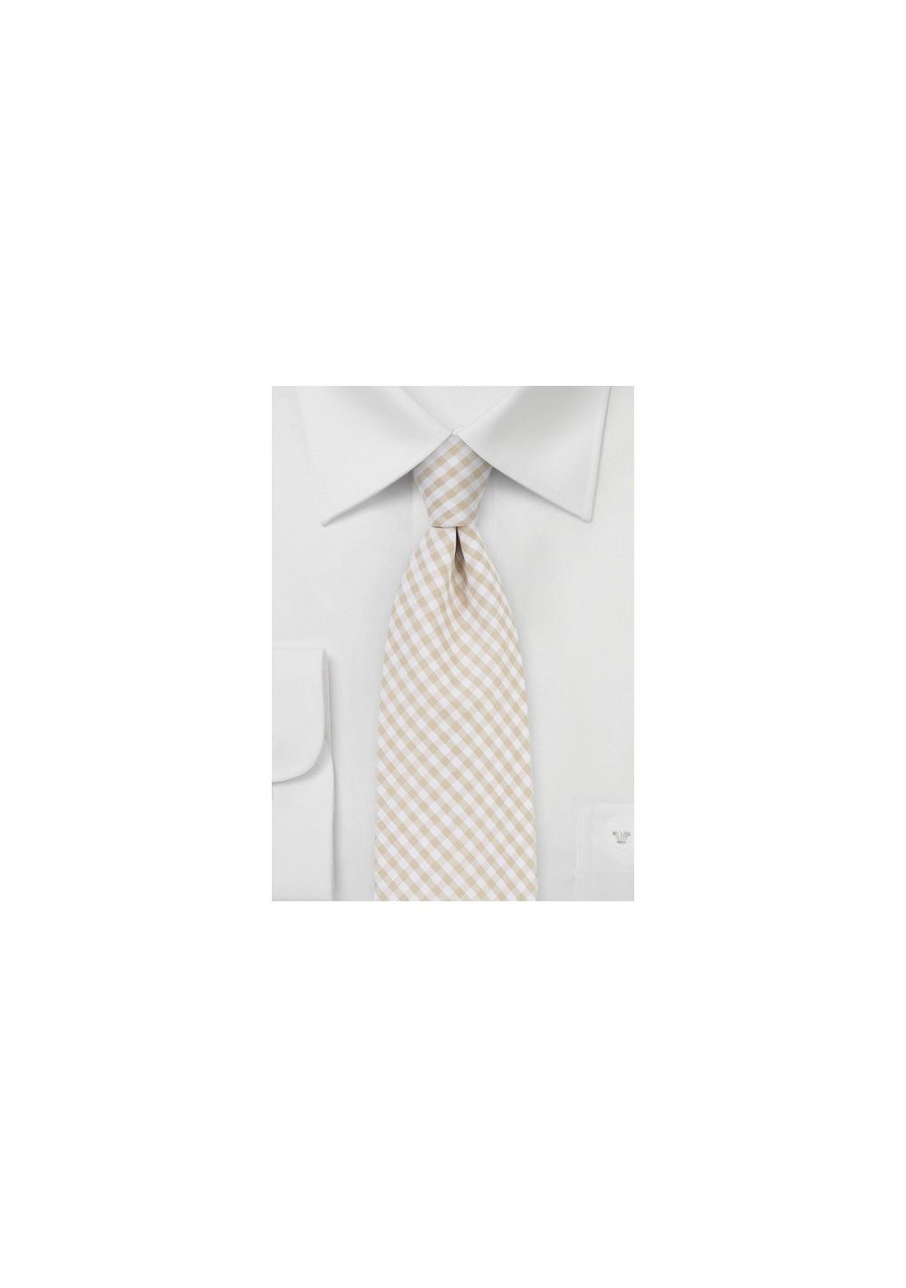 Gingham Cotton Tie in Golden Wheat