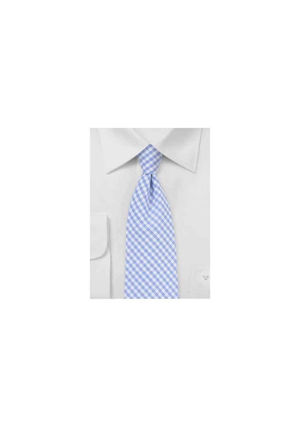 Baby Blue Cotton Tie with Gingham Check