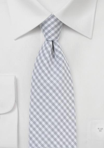 Silver and White Micro Plaid Necktie