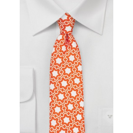 Retro Print Silk Tie in Vintage Orange and White