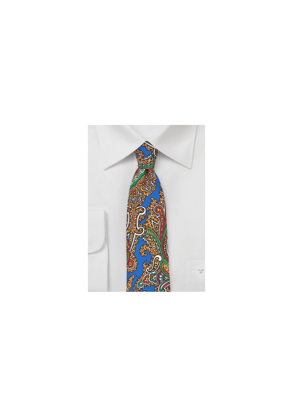 Spanish Paisley Silk Tie in Bright Blue and Gold