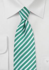 Striped Tie in Sea Green