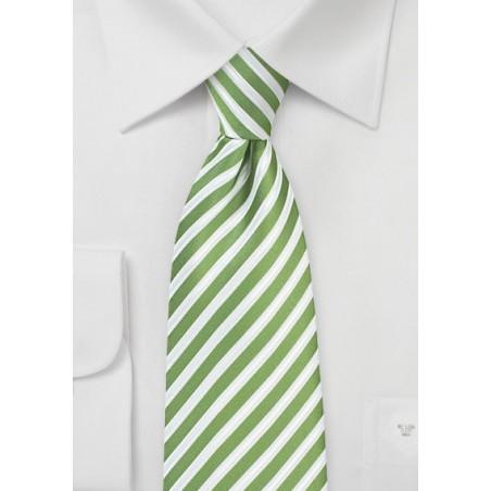 Kiwi Green and White Striped Tie