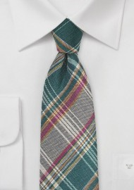 Autumn Madras Plaid Necktie in Green and Brown