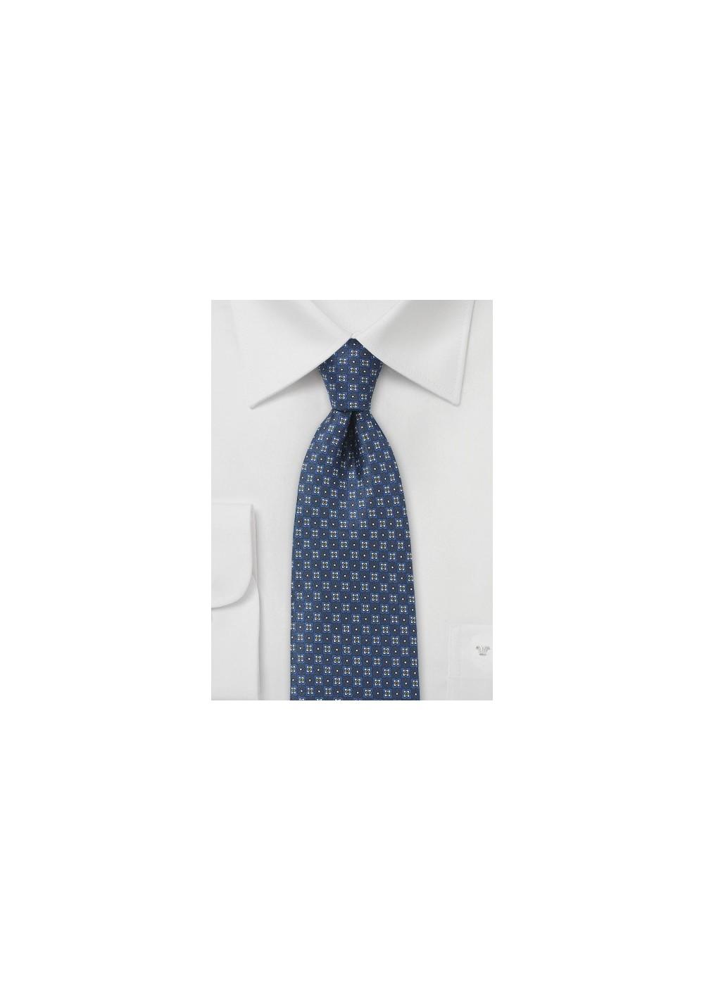 Floral Silk Tie in Elegant Blue