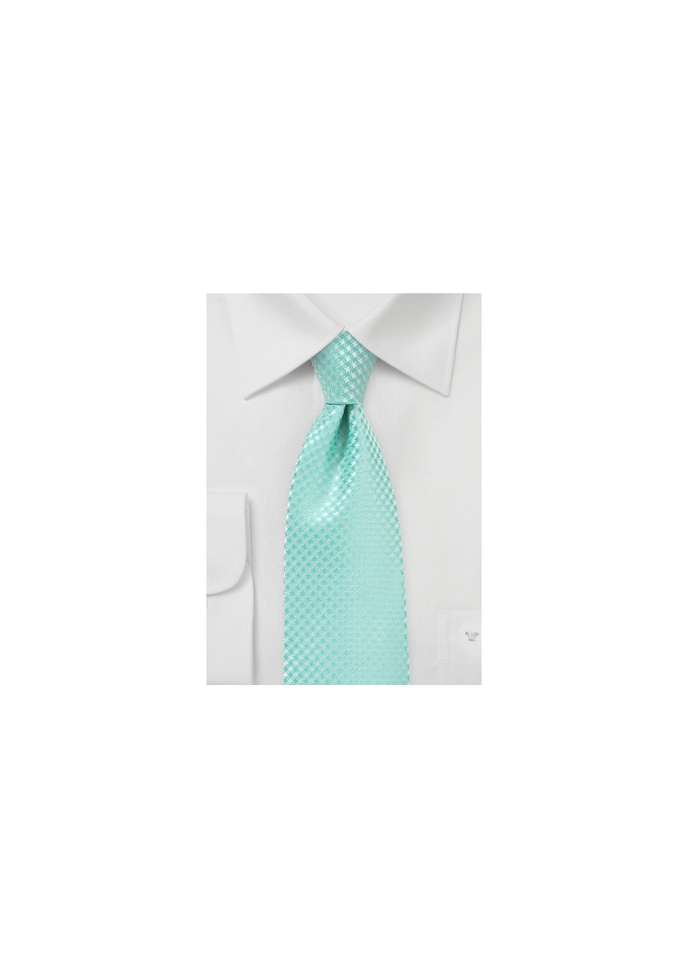 Micro Check Tie in Pool Blue