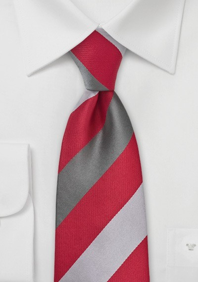 Bright Red Tie with Silver Stripes