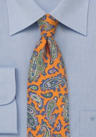 French Paisley Tie in Bright Orange and Blue