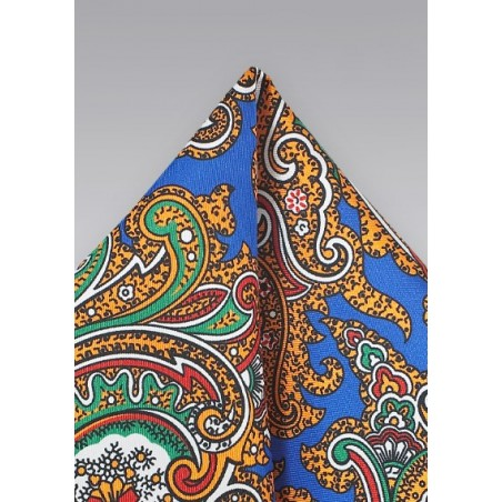 Spanish Paisley Pocket Sqaure in Blue, Green, Yellow, Orange