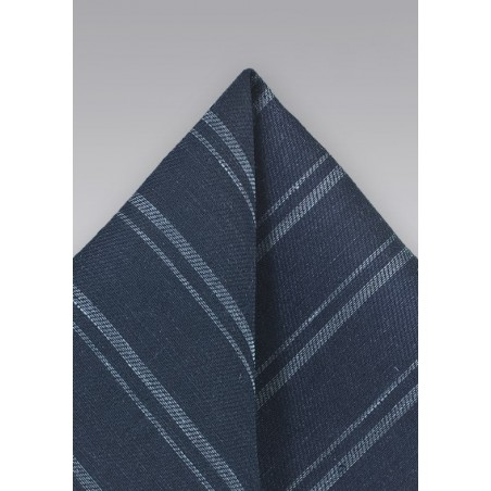 Linen Striped Pocket Square in Blues