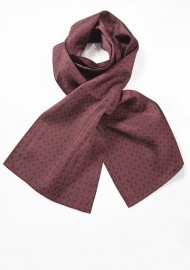 Vintage Design Silk Scarf in Burgundy