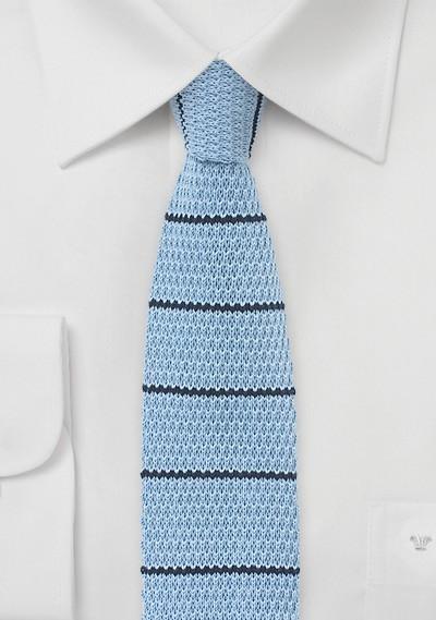 Light Blue Knit Tie with Navy Stripes
