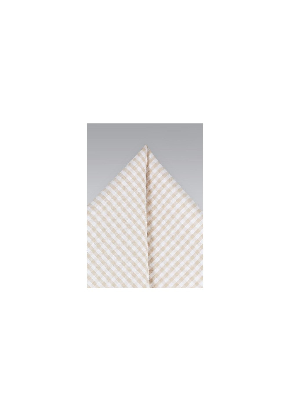 Cream and Tan Gingham Pocket Square