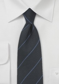 Wool Pencil Stripe Tie in Black and Blue