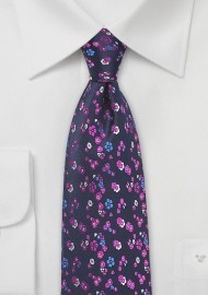 Floral Silk Tie in Purple