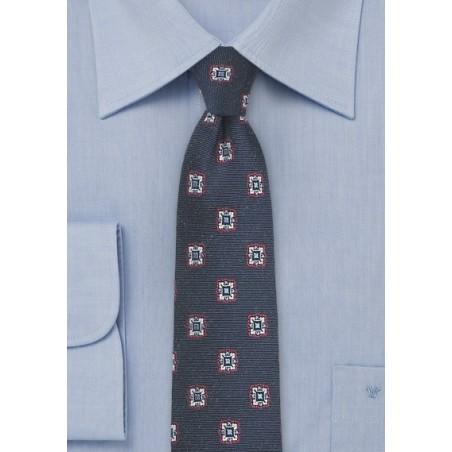 Medallion Silk Tie in Dark Navy Blue