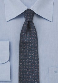 Geometric Paisley Skinny Tie in Blue and Red