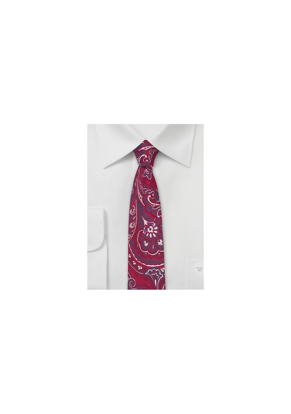 Slim Cut Paisley Tie in Bold Red