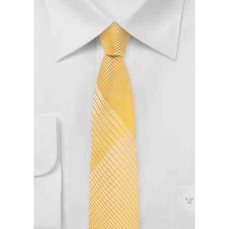 Mimosa Yellow Skinny Tie with Trendy Plaid
