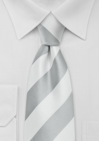 Preppy Kids Striped Tie in Silver and White