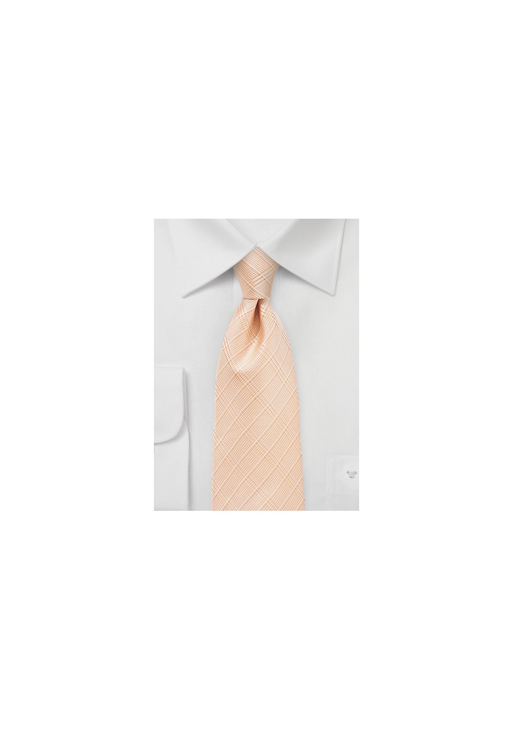 Extra Long Plaid Necktie in Coral Sands Color