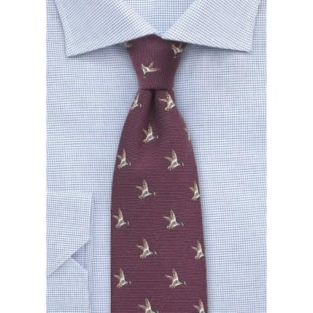 Maroon Red Wool Tie with Flying Ducks