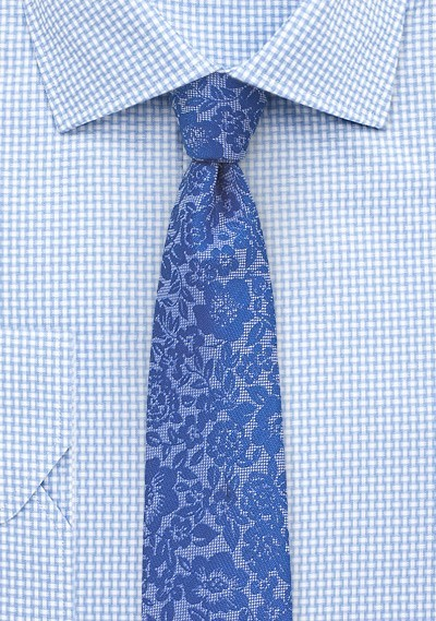 Floral Lace Tie in Blue