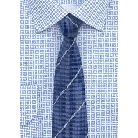 Rich Blue Wool Tie in Skinny Cut