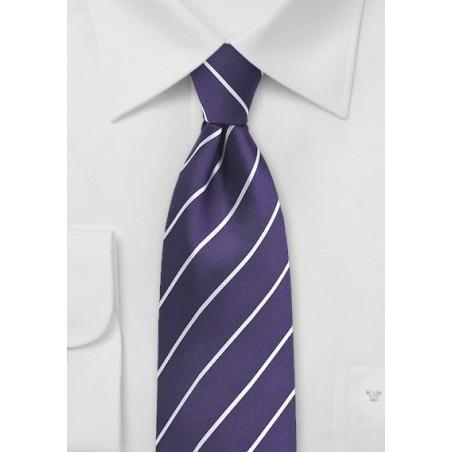 Bright Grape Colored Striped Silk Tie