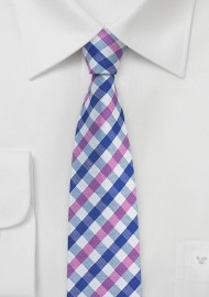 Summer Gingham Tie in Pink and Blue