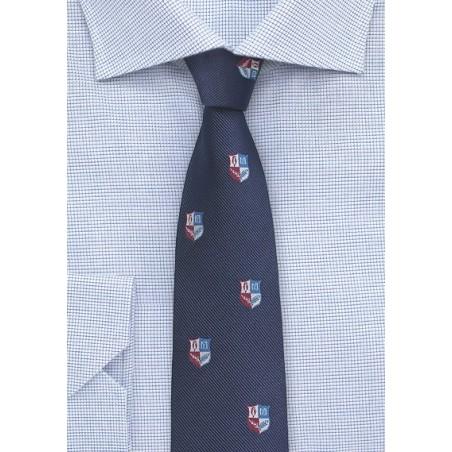 Repp Textured Tie in Navy with Crests