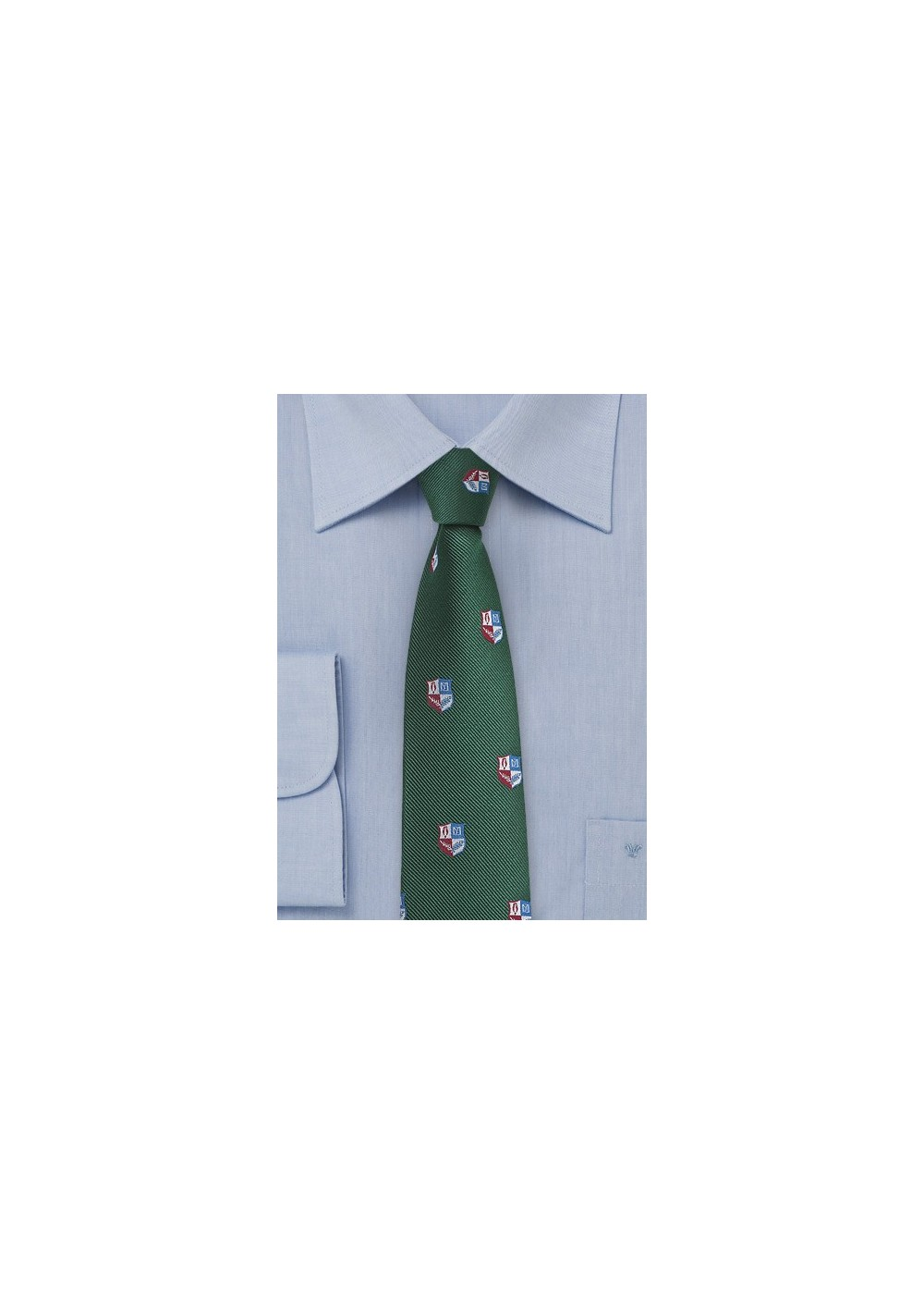 Crested Repp Tie in Dark Hunter Green