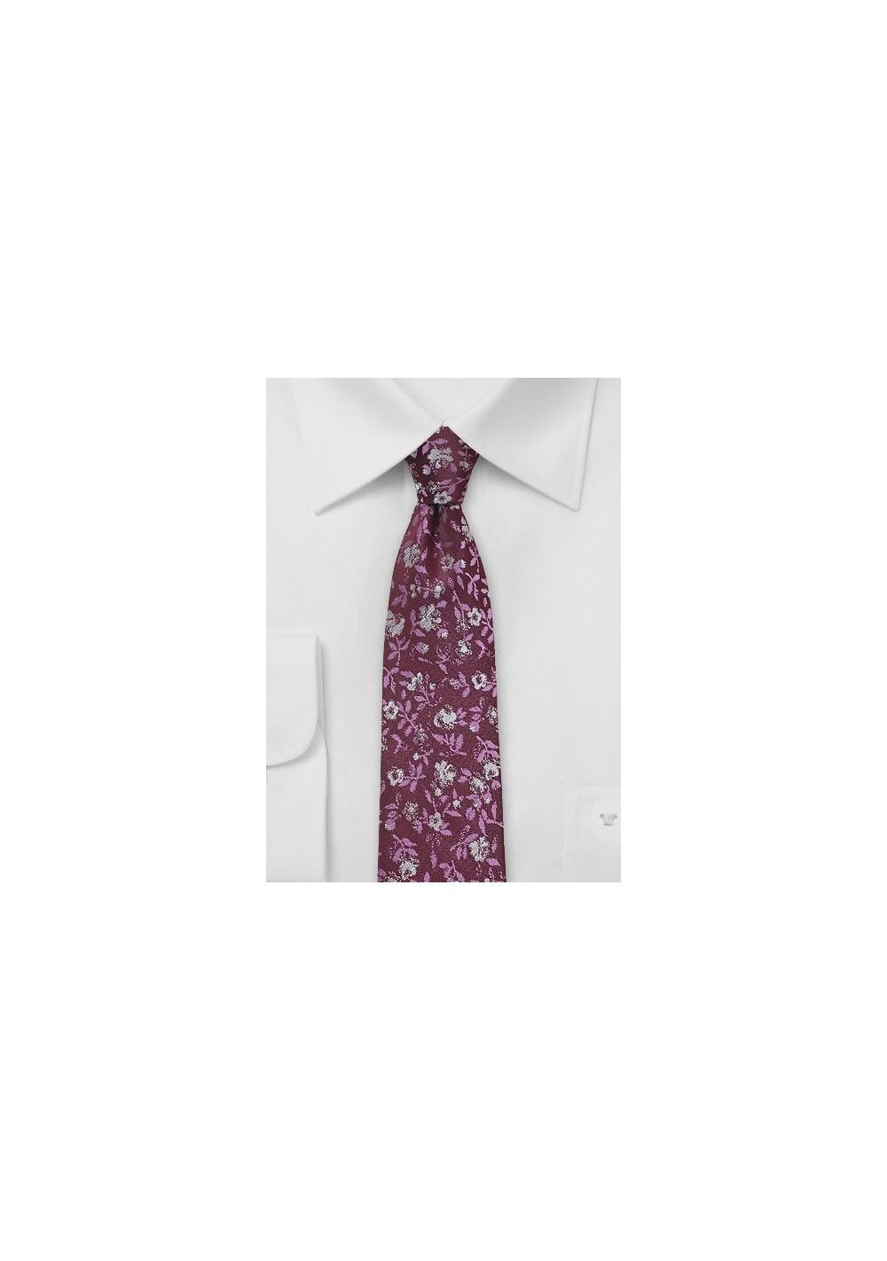 Floral Silk Tie in Crimson Red