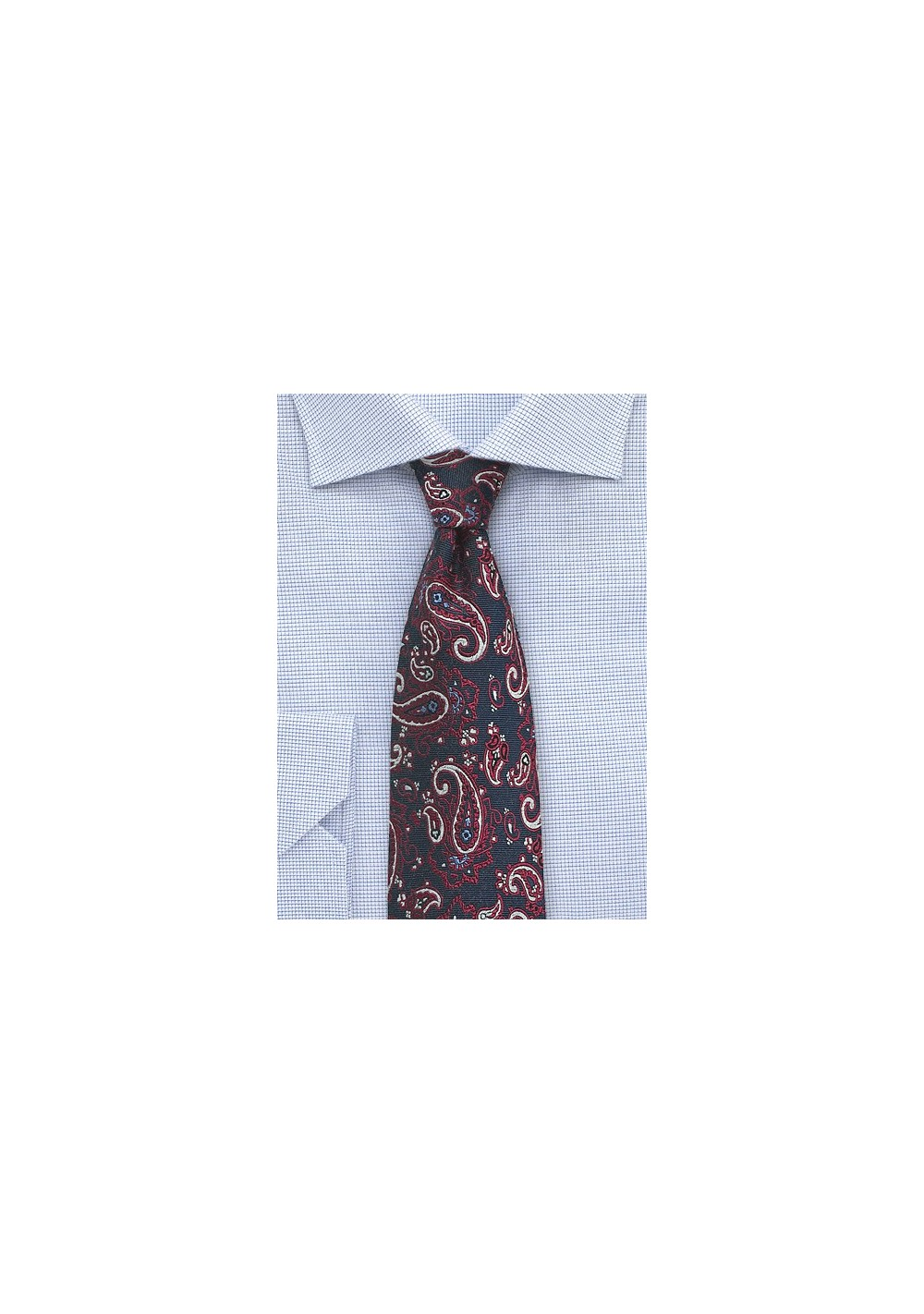 Navy and Red Paisley Necktie