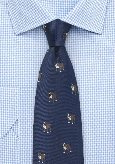 Navy Blue Silk Tie with Bulldog Print