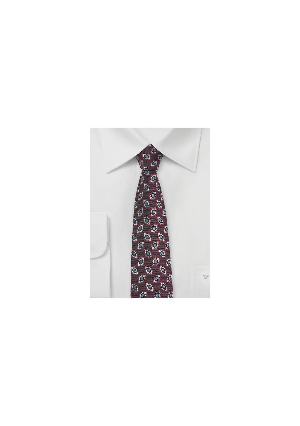 Black Cherry Colored Skinny Silk Tie