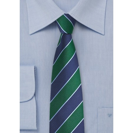 Repp Striped Skinny Tie in Green and Blue