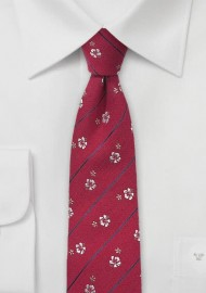 Red Silk Tie with Champagne Colored Floral Design