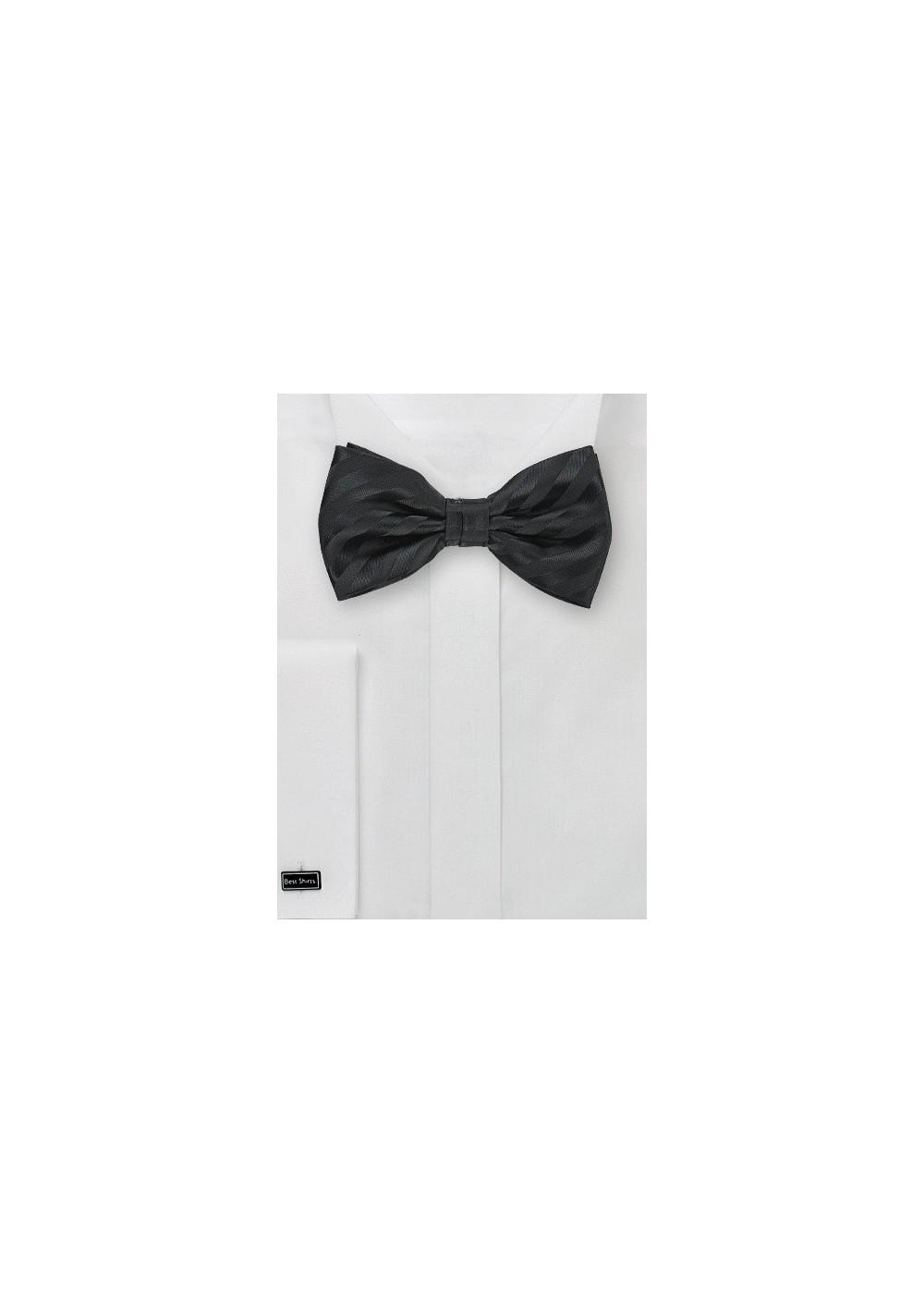 Formal Black Striped Bow Tie for Kids