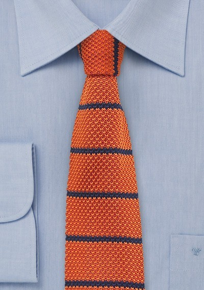 Tangerine and Blue Striped Knit Tie