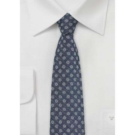 Silk Polka Dot Tie in Denim Look